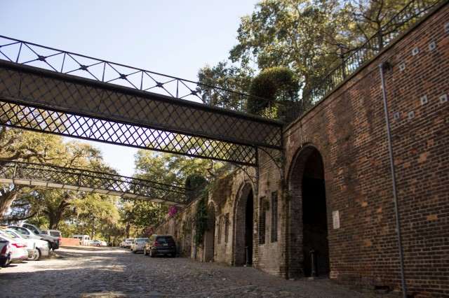 Cobblestone roadway and brick arches between Bay Street and River Street in Savannah