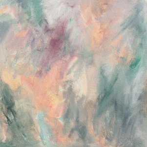 Nature inspired abstract painting in pink, peach, teal, and blue