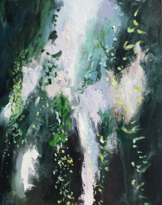 Nature inspired abstract painting in green and white